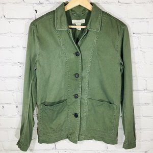 H&M LOGG Olive Green Button Front Jacket 6 EUC